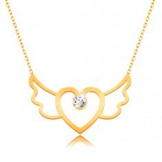 9K Goldhalskette - Herz mit Flügel und klarem Zirkonia, schmales Kettchen