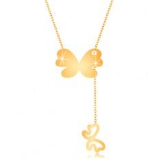 375 Gelbgoldhalskette - großer Schmetterling und kleine Schmetterlingskontur