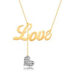 Collier in 9K Gold - Aufschrift Love, hängendes Herz aus Weißgold an Kette
