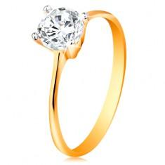 Ring aus 14K Gold - schmale Ringschiene, runder klarer glitzernder Zirkonia in Fassung