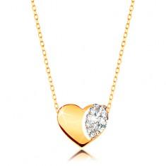Collier in 375 Gelbgold - glänzendes Herz mit Zirkonia, ovale Kettenglieder