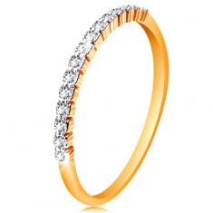 Ring aus 14K Gold - glänzende Ringschiene, glitzernde Streifen aus Zirkoniasteinen