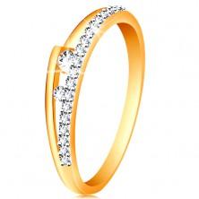 Ring aus 14K Gold - geteilte Ringschiene, zwei klare Zirkoniasteine