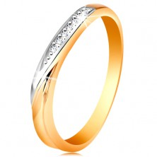 Zweifarbiger Ring aus 585 Gold - Welle aus Weißgold, winzige klare Zirkonia