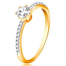 Ring aus 14K Gelbgold - glitzernder klarer großer Zirkonia, Zirkoniaringschiene