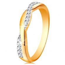Glanzvoller Ring aus 14K Gold - verlschlingene Ringschiene, klare Zirkonialinie