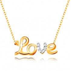 Collier in 9K Gold - zweifarbige Aufschrift Love, Zirkonia, schmale Kette