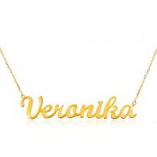 Collier aus 14K Gelbgold - schmale Kette, glänzender Anhänger Veronika
