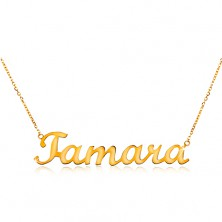 Einstellbare 585 Goldhalskette mit Namen Tamara, feines glanzvolles Kettchen