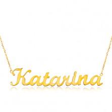 Collier aus 14K Gelbgold - schmale Kette, glänzender Anhänger Katarina