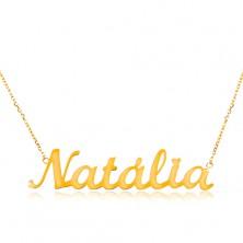 14K Goldcollier - feine glänzende Kette, glanzvolle Aufschrift Natalia