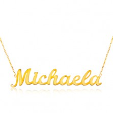 Einstellbare 14K Goldhalskette mit Namen Michaela, feines glanzvolles Kettchen