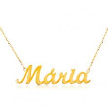 Collier aus 14K Gelbgold - schmale Kette, glänzender Anhänger Maria