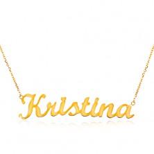 Einstellbare 14K Goldhalskette mit Namen Kristina, feines glanzvolles Kettchen