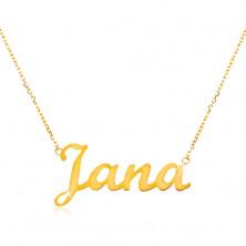 Einstellbares 14K Goldcollier mit Namen Jana, feine glänzende Kette