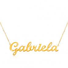 Collier aus 14K Gelbgold - schmale Kette, glänzender Anhänger Gabriela