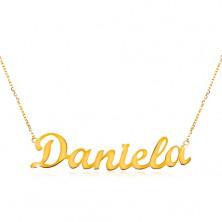 Collier aus 14K Gelbgold - schmale Kette, glänzender Anhänger Daniela