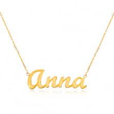 Einstellbare 14K Goldhalskette mit Namen Anna, feines glanzvolles Kettchen