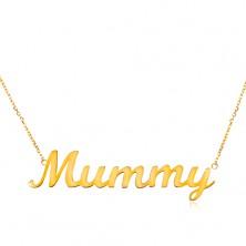 Collier aus 14K Gelbgold - feine Kette, glänzender Anhänger - Mummy