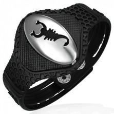 Gummiarmband - ovale Platte mit Skorpion