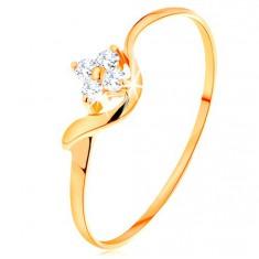 Damenring aus 14K Gelbgold - Blume aus klaren Diamanten, gewellte Ringschiene
