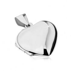 925 Silberanhänger - Herzmedaillon zum Aufklappen, für zwei Fotos