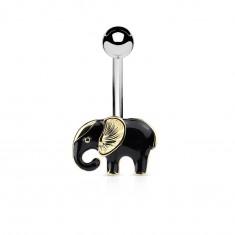Bauchnabelpiercing aus Chirurgenstahl, schwarz-goldenfarbener Elefant