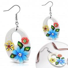 FIMO Ohrhänger, große weiße Ovale mit Blumen und Schlitzloch, Ohrhaken