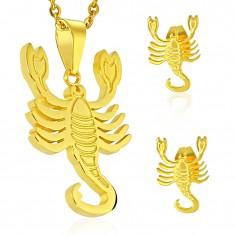 316L Edelstahlset in goldener Farbe, Anhänger und Ohrstecker, Sternzeichen SKORPION
