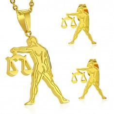 Goldfarbener Set aus Chirurgenstahl, Anhänger und Ohrringe, WAAGE