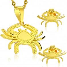 Set aus 316L Stahl in goldener Farbe - Anhänger und Ohrringe, Tierzeichen KREBS