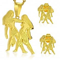 Set aus Edelstahl, Ohrstecker und Anhänger, goldfarben, Tierkreiszeichen ZWILLINGE