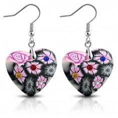 FIMO Ohhänger an Haken, graue Herzen mit rosa Blumen und Zirkonia