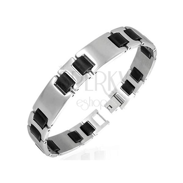 Stahlarmband - glatte silbern-schwarze Glieder