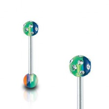 Zungenpiercing - Multicolor mit Zirkonia