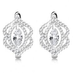 Ohrringe aus 925 Silber, glanzvolles klares Zirkoniakorn, Doppelkontur