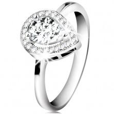 Rhodinierter Ring aus 925 Silber, klare Zirkoniaträne in funkelnder Kontur
