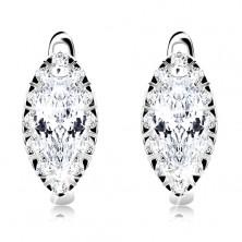 Rhodinierte Ohrringe aus 925 Silber, klarer kornförmiger Zirkonia, glitzernder Rand