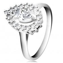 Ring aus 925 Silber, großer ungekehrter Trofen, klare Zirkoniaträne