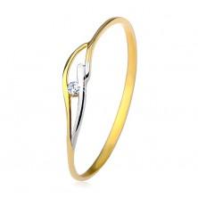 Ring aus 9K Gelb- und Weißgold, schmale Ringschiene, Wellen und klarer Zirkonia