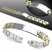 Armband aus 316L Stahl, glattes glänzendes Plättchen, zweifarbige H-Glieder