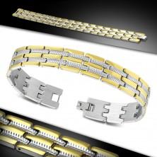 Armband aus Chirurgenstahl, zweifarbige gravierte Glieder, Rillen