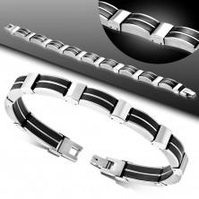 Edelstahl-Gummi-Armband, silberfarbene Glieder, schwarze Verbindungen
