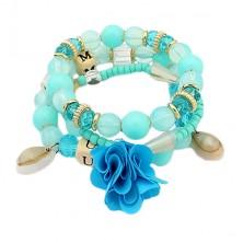 Multiarmband - blaue, klare und goldfarbene Schmuckperlen, Blume und Muschel