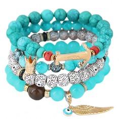 Armbänder aus blauen, marmorblauen und weißen Schmuckperlen, Anhänger