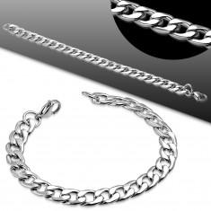 Silberfarbenes Armband aus Chirurgenstahl, glänzende abgeflachte Glieder