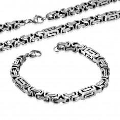 Set aus Chirurgenstahl - Collier und Armband, silberfarbene Balken mit Schlitzlöchern