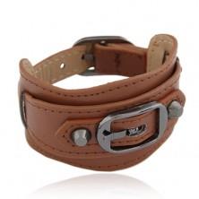 Braunes breites Armband aus Kunstleder, glänzende Schnalle und Nieten
