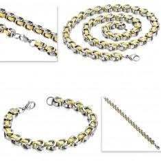 Set aus Chirurgenstahl - Armband mit Collier, zweifarbige Glieder, griechischer Schlüssel