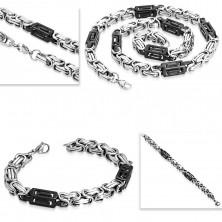 Set aus 316L Stahl - Collier und Armband, zweifarbige Glieder, Schlitzlöcher